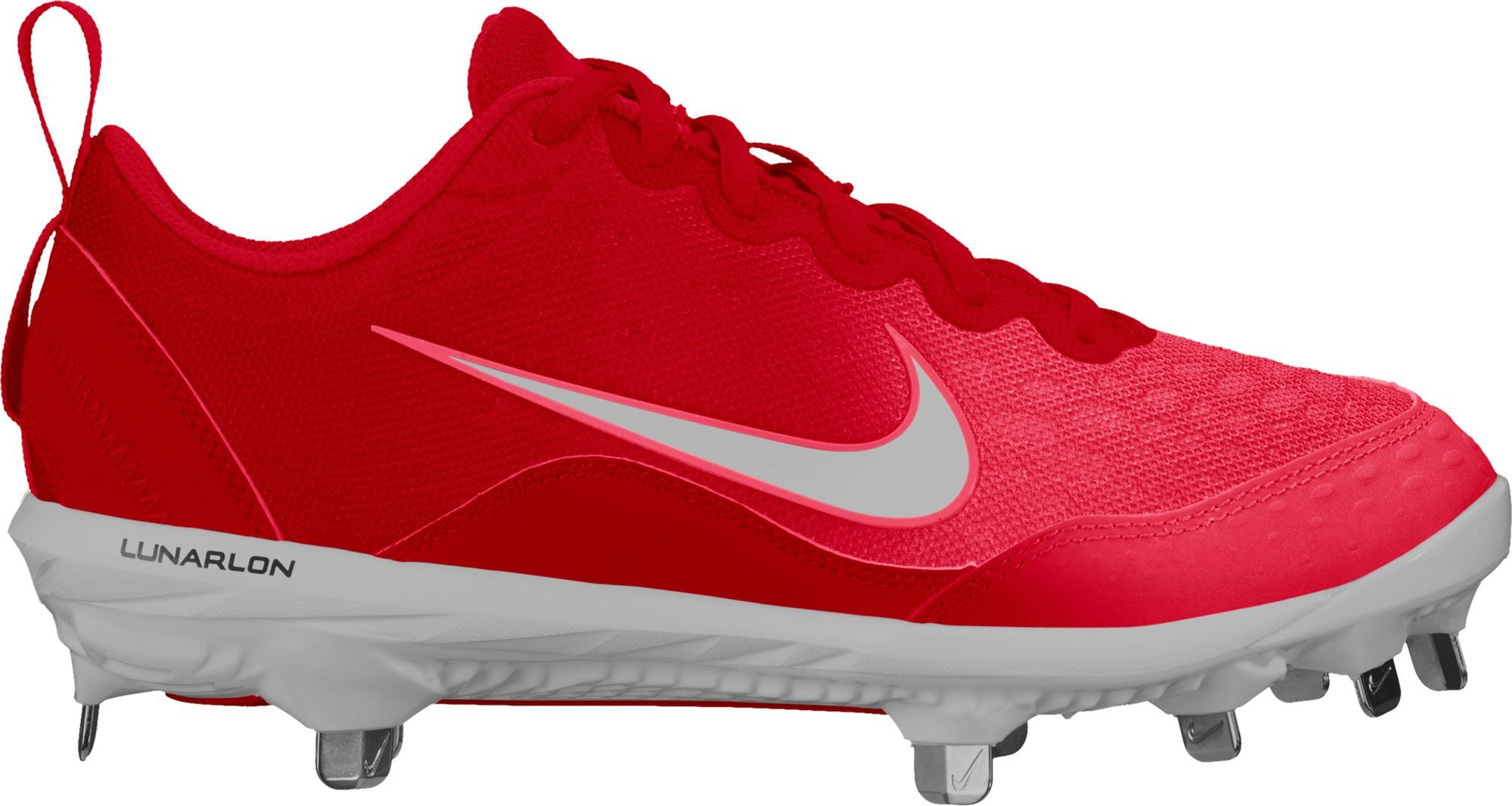NIKE Women's Lunar Hyperdiamond 2 Pro Fastpitch Softball Cleats (8.5, Red/White)