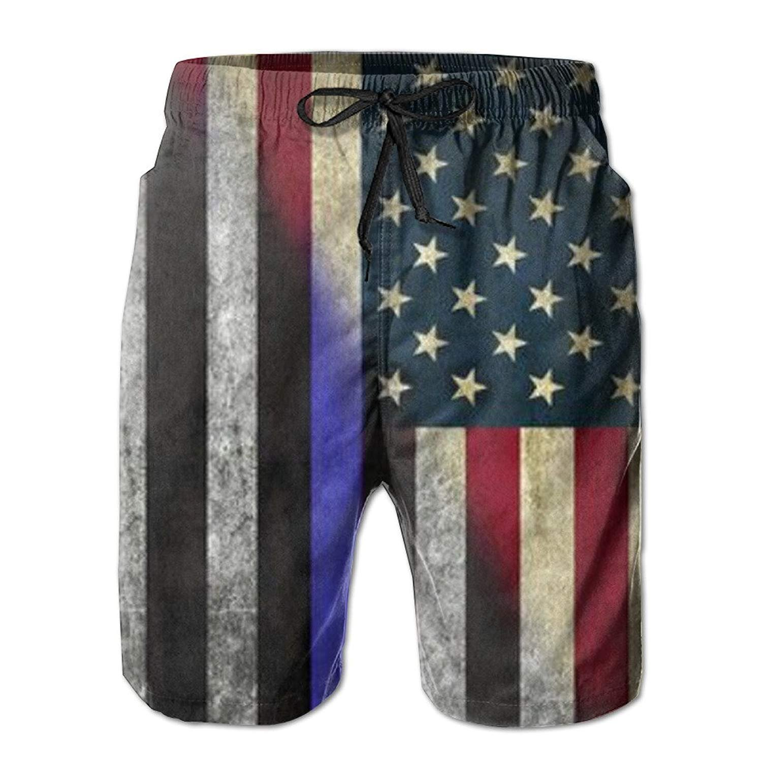 UNIQUE Pants American Thin Blue Line Flag Day Men's Quick Dry Beach Board Shorts Summer Swim Trunks for Father's Day