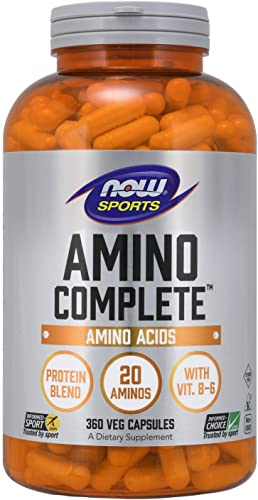 NOW Sports Nutrition, Amino Complete, Protein Blend With 21 Aminos and B-6, 360-Capsules