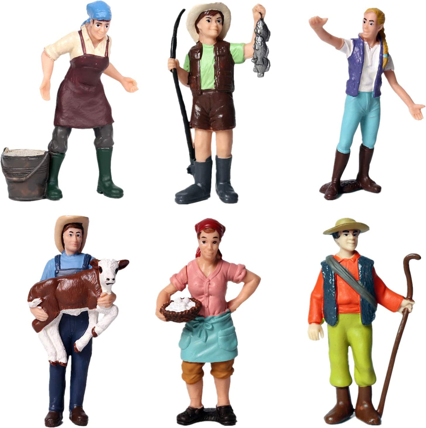 Painted Figures Farm Worker Model Simulation Animals Figures Crafts Ornament