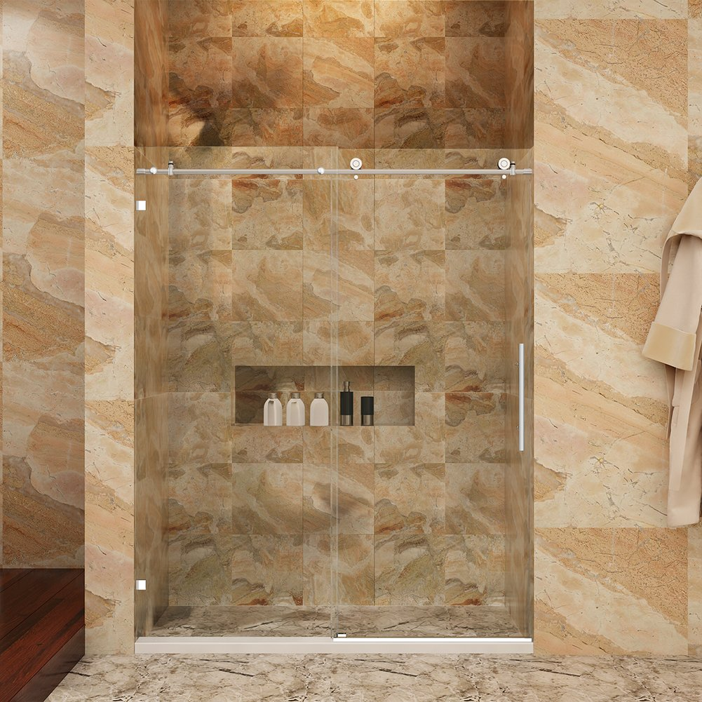 SUNNY SHOWER 56'' - 60'' W , Fully Frameless Sliding Shower Doors, 3/8'' Glass, Polished Chrome Finish Stainless Steel
