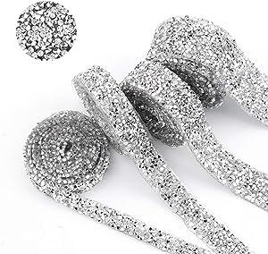 BLINGINBOX 5 Yard Silver Crystal Rhinestone Ribbon Sparkling Rhinestone Ribbon Mesh Wrap Roll Bling Arts Crafts Event Decorations 3cm Width(Crystal)