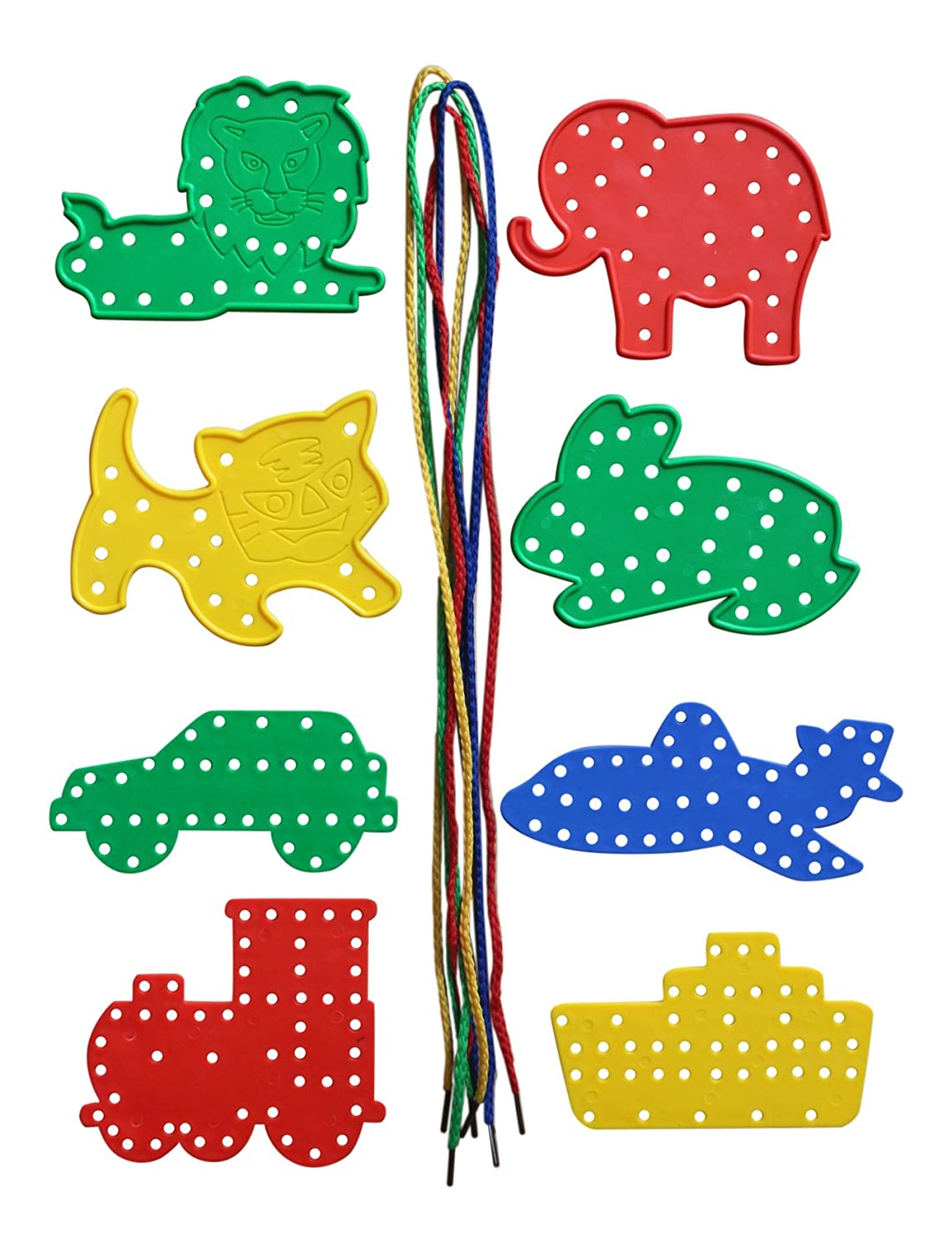 8 Threading Shapes, Animals And Transport Toy Kids B Crafty