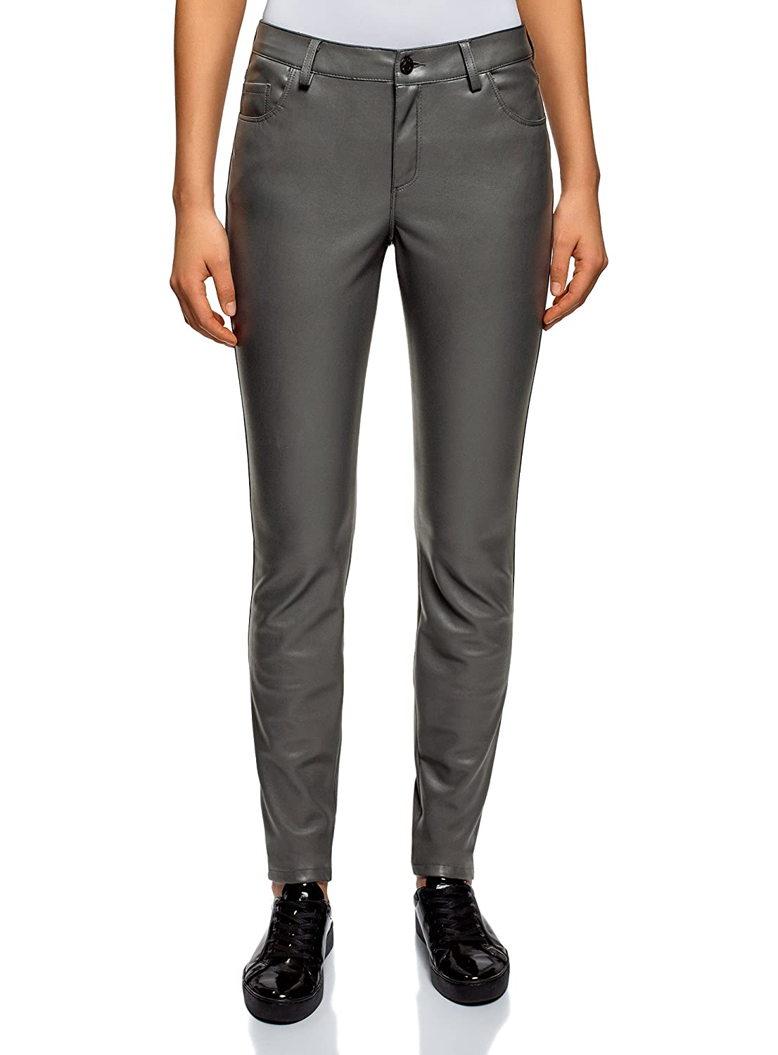68ce117c82afb oodji Ultra Women s Slim-Fit Faux Leather Trousers at Amazon Women s  Clothing store