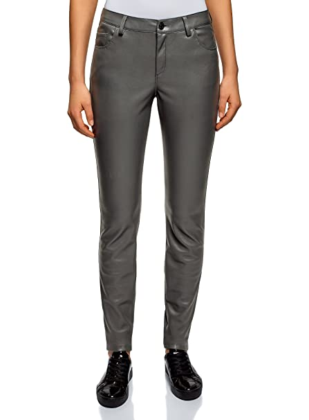09645060c755a oodji Ultra Women's Slim-Fit Faux Leather Trousers at Amazon Women's ...