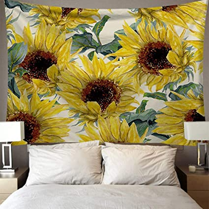 Tapestry Wall Hanging Nature Landscape Oil Painting Sunflower In Vase Spring Plant Light Yellow Hippe Trippy Boho Psychedelic Large Size Modern Art Wall Home Decoration For Bedroom Men Living Room Amazon Co Uk Kitchen