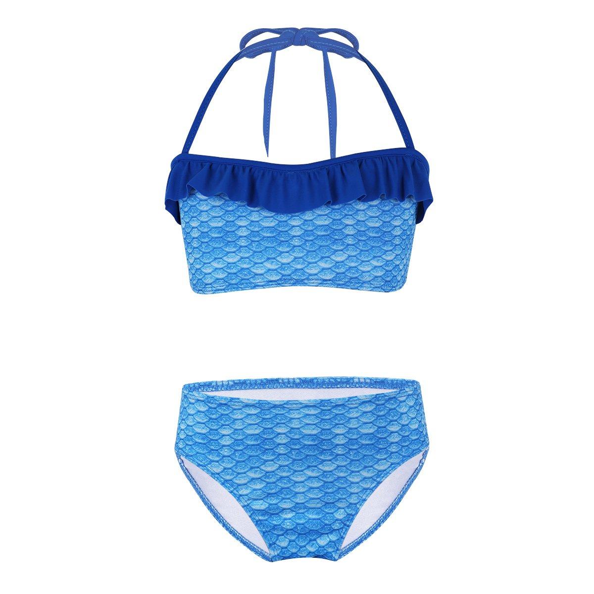 YiZYiF Ragazza Costume da Bagno Bikini Costume a Due Pezzi Costume da Sirena Principessa Volant Stampata Canotteria+Perizoma Completo Estivo Mare Piscina Swimwear Set Swimsuit