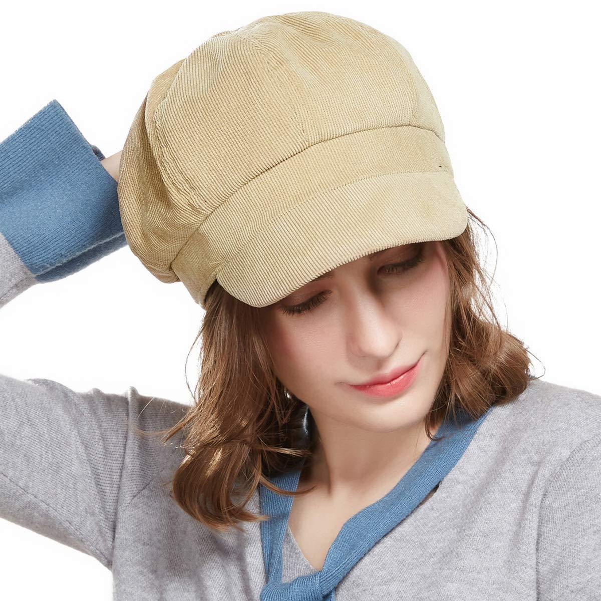 Beige Beret Corduroy Newsboy Hat for Women Visor Adjustable Winter Octagonal Cap for Ladies