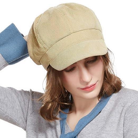 5dec6914e3e Visor Beret Newsboy Hat Women - Corduroy Adjustable Winter Octagonal Cap  for Ladies (Beige)