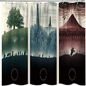 Fuortia Shower Curtain Lord of The Rings Posters Bathroom Curtain Fantasy Fabric Bathroom Curtain Sets Magic Home Decoration Background with Hooks 70x70 Inches