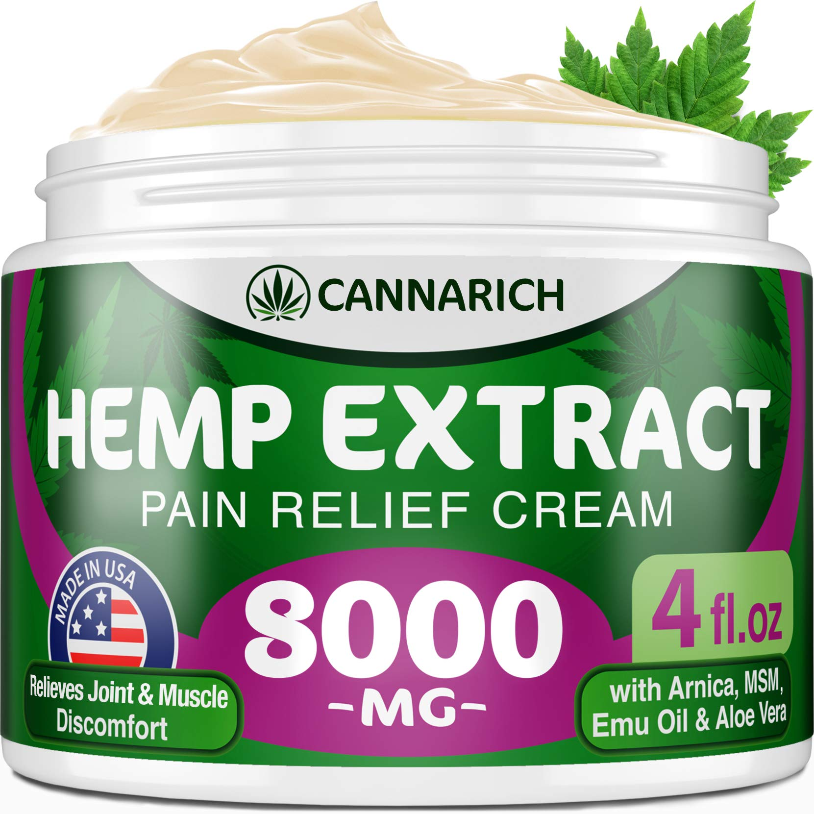 Pain Relief Hemp Cream - 8000MG Hemp Extract - Natural Formula with MSM, Aloe Vera, Emu Oil & Menthol - Made in USA - Perfect for Joint, Muscle, Sciatica & Back Pain - Rich in Omega 3-6-9 by Cannarich