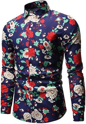 SoonerQuicker Camisas de Hombre Moda para Hombre Estilo Hawaiano Ocio Estampada Camisa de Manga Larga Tops Blusa T Shirt tee: Amazon.es: Ropa y accesorios
