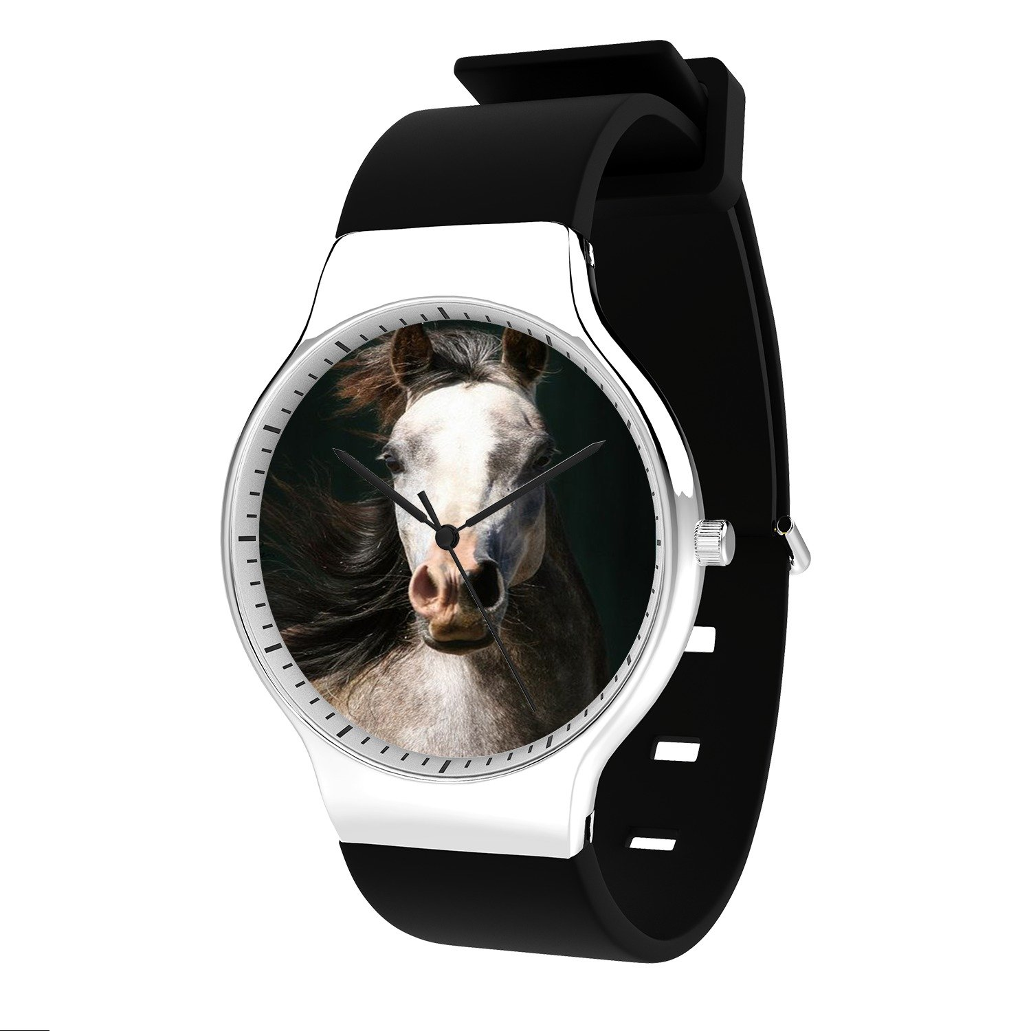 FELOOWSE Arabian Horse Watch Men'S Quartz Watches, Minimalist Slim Japanese Quartz Youth Silicone Watches, Fashion Practical Waterproof Boys Watch Customized Watches