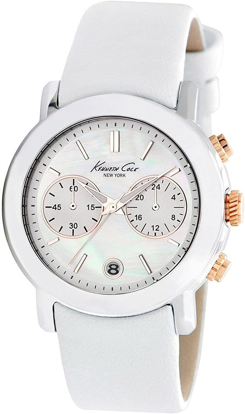 Kenneth Cole New York Womens Water Resistant Leather Wristwatch Silver O S