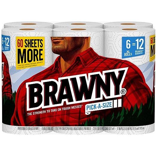 Amazon.com : Brawny Paper Towel, 6XL Rolls, Pick A Size, 6=12 Regular Rolls : Grocery & Gourmet Food