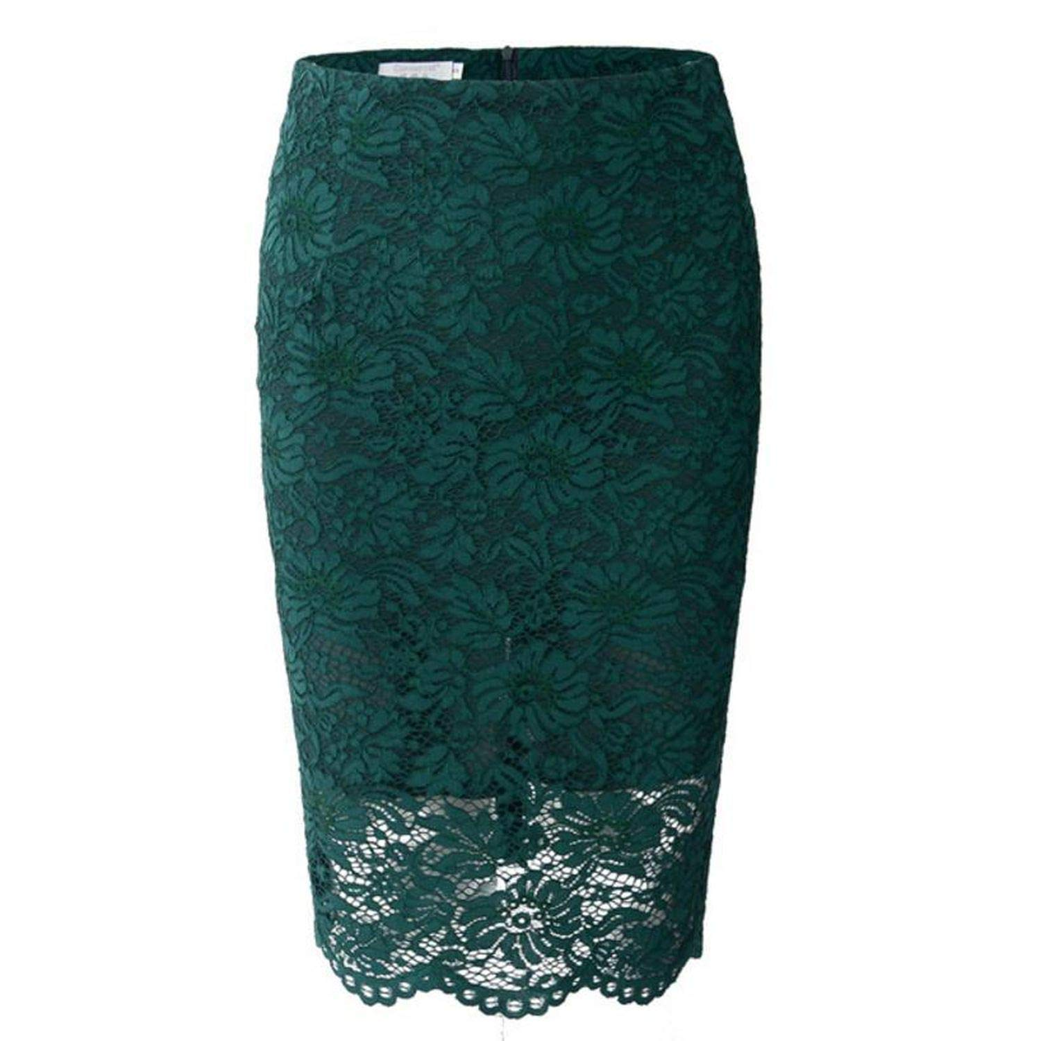 Green SMALL FAT 2019 New Lace Skirt Slim Sexy high Waist ol Work Pencil Skirt