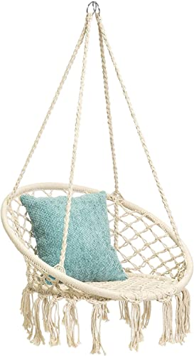 X-cosrack Hanging Swing Chair for 2-16 Years Old Kids, Handmade Knitted Macrame Hammock Swing Chair for Indoor,Bedroom,Yard,Garden- 230 Pound Capacity Stand and Chain not Included