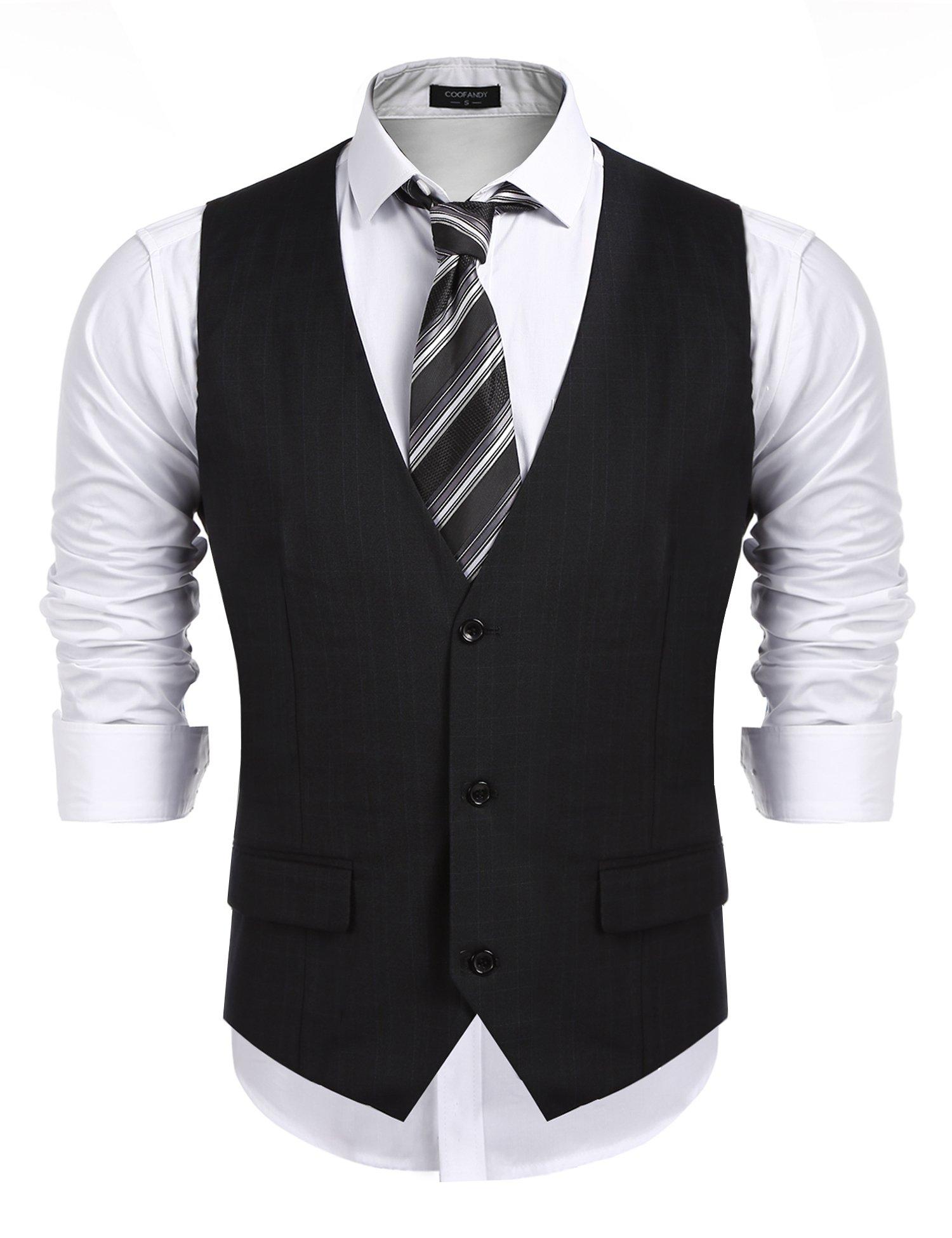 COOFANDY Men's Business Suit Vest,Slim Fit Skinny Wedding Waistcoat, Black, Small