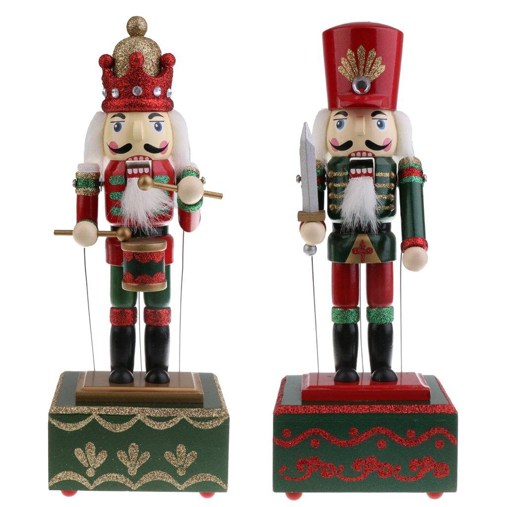 Sharplace 2pcs Caja de Música de Madera de Cascanueces Ornamento de Mesa Decoraciones Regalos de Navidad para Niño - Soldado y Baterista
