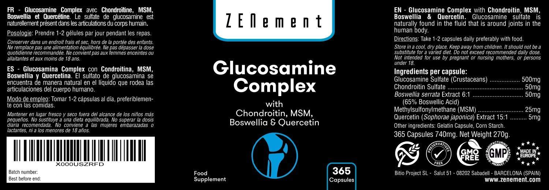 Glucosamina Complex con Condroitina, MSM, Boswellia y Quercetina, 365 Cápsulas | Para el dolor en las articulaciones | No-GMO, GMP, sin aditivos, sin ...