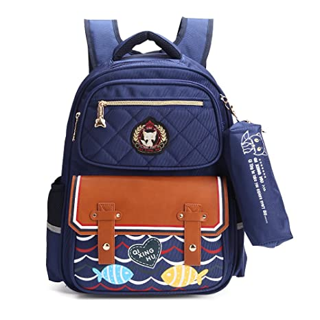 e24eed90e6f9 Kids School Bags Backpack for Boys and Girls with Pencil Case, Stylish and  Waterproof Book Bags for Elementary School Fox World (NAVY-B)