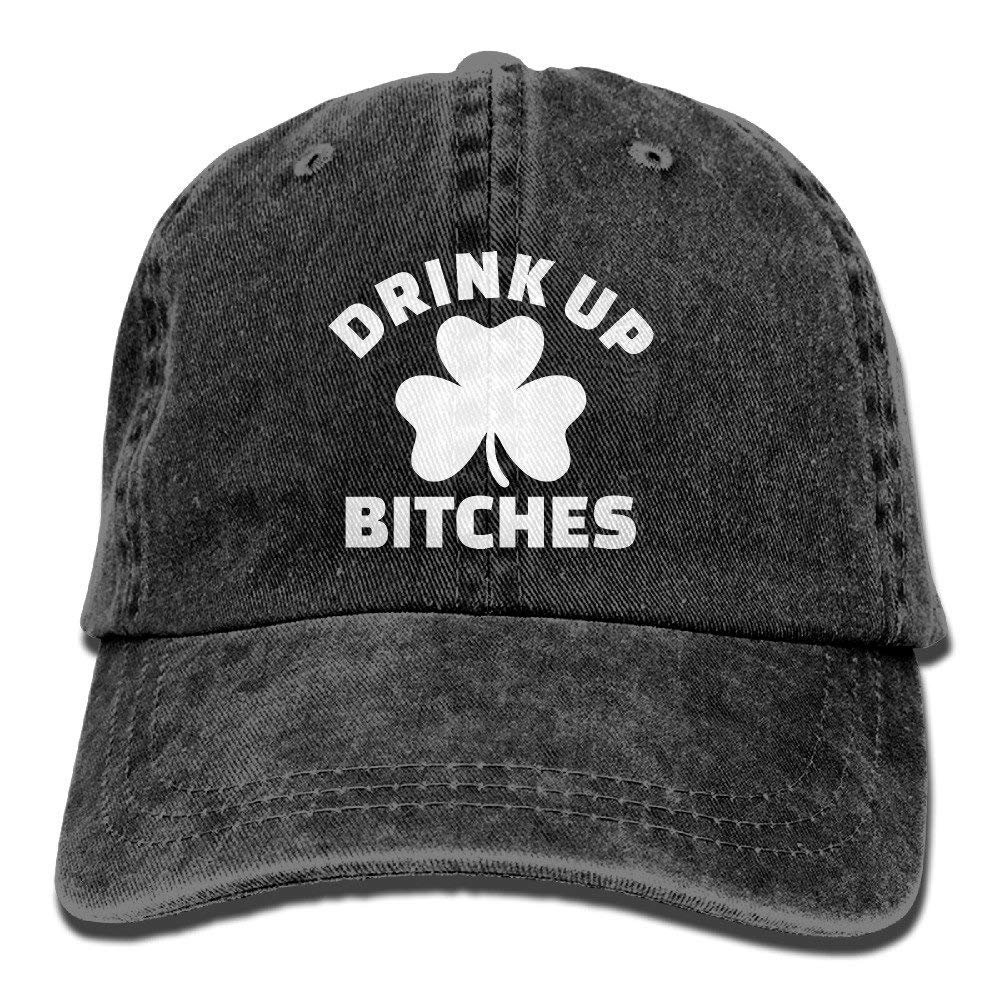 Drink Up Bitches with Shamrock Washed Retro Adjustable Jeans Caps Gym Caps ForAdult JTRVW Cowboy Hats