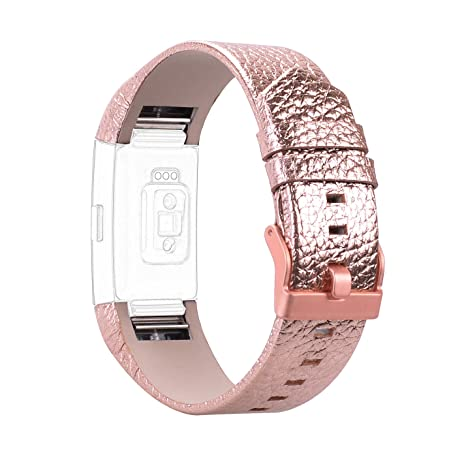Smartwatch Fitbit Charge 2 Montre Connectees, Rosa Schleife® Remplacement Bracelet en Cuir PU Leather