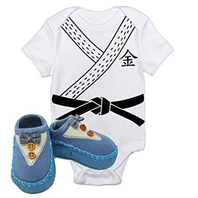 fad650aca2945 Amazon.com: Karate Kung Fu Master Costume Baby Onesie Blue Shoes ...