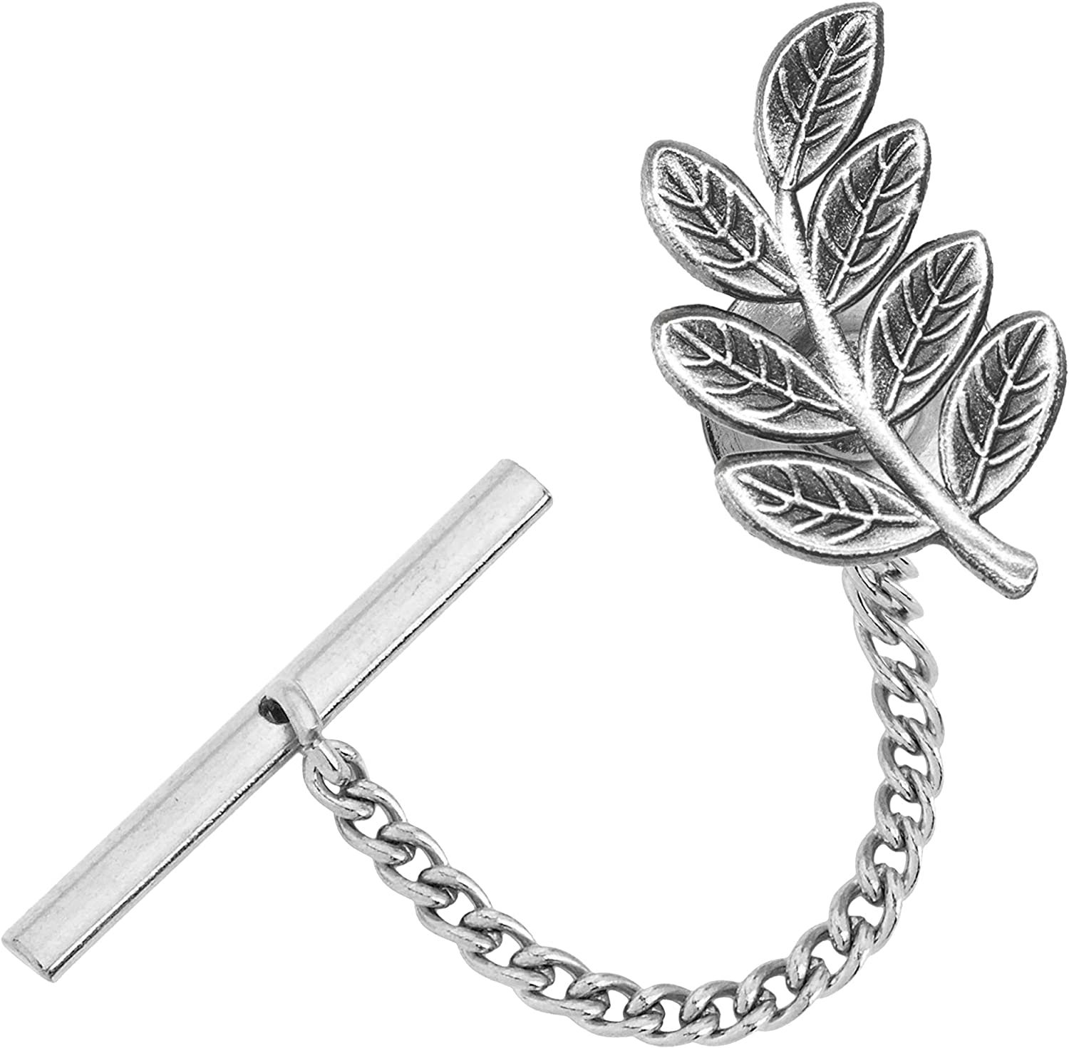 Masonic Revival Sprig of Acacia Tie Pin Tack (Antique Silver)