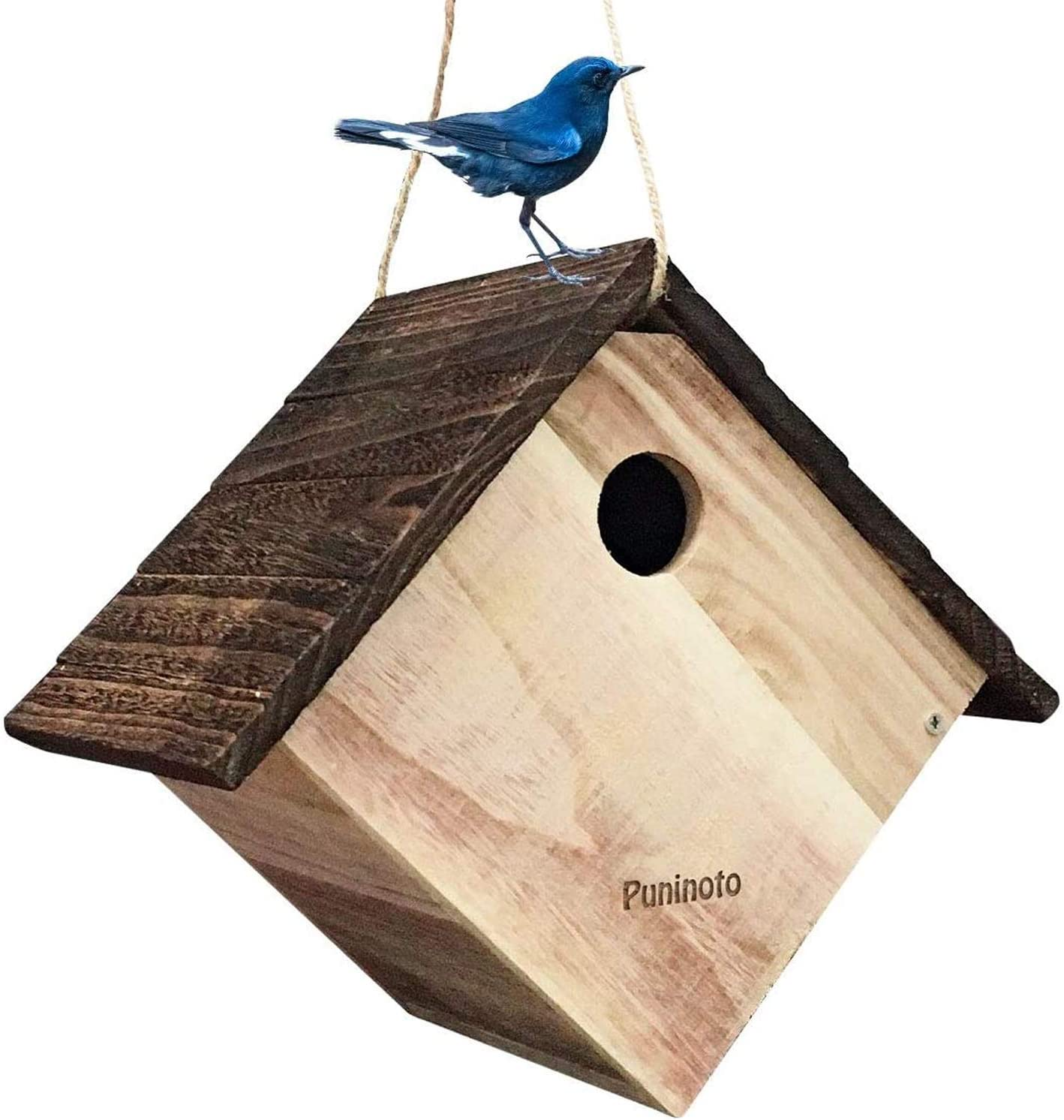 Puninoto Wooden Bird House, Bluebird House, Hanging Birdhouse for Outside,Natural Wooden Handmade Bird Nest,Garden Patio Decoration DIY Birdcage for Dove Finch Wren Robin Sparrow Hummingbird