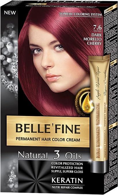 BELLEFINE® - Black Series - Tinte permanente natural - Con 3 aceites y queratina - Cereza oscuro