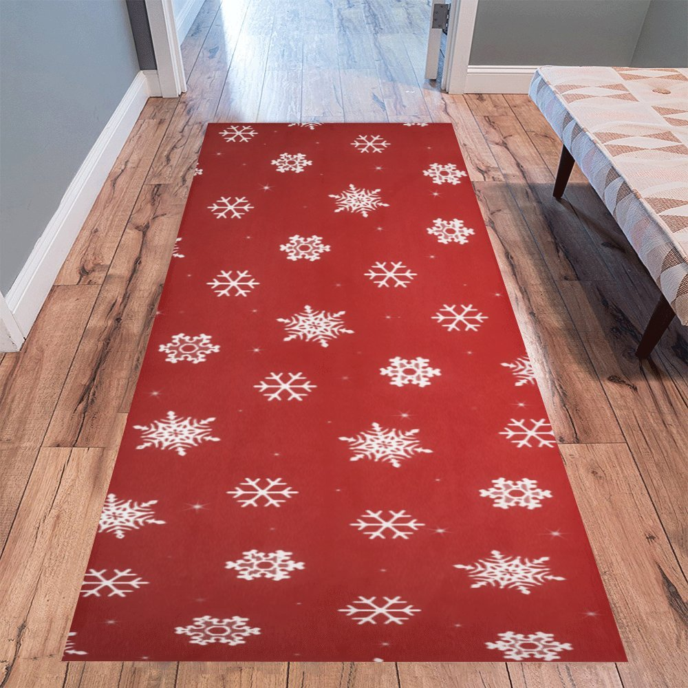 Love Nature Sweet Home Stores Collection Custom Red Snowflake Xmas Runner Rug Carpet 10'x 3'3'' Indoor Soft Area Rug InterestPrint