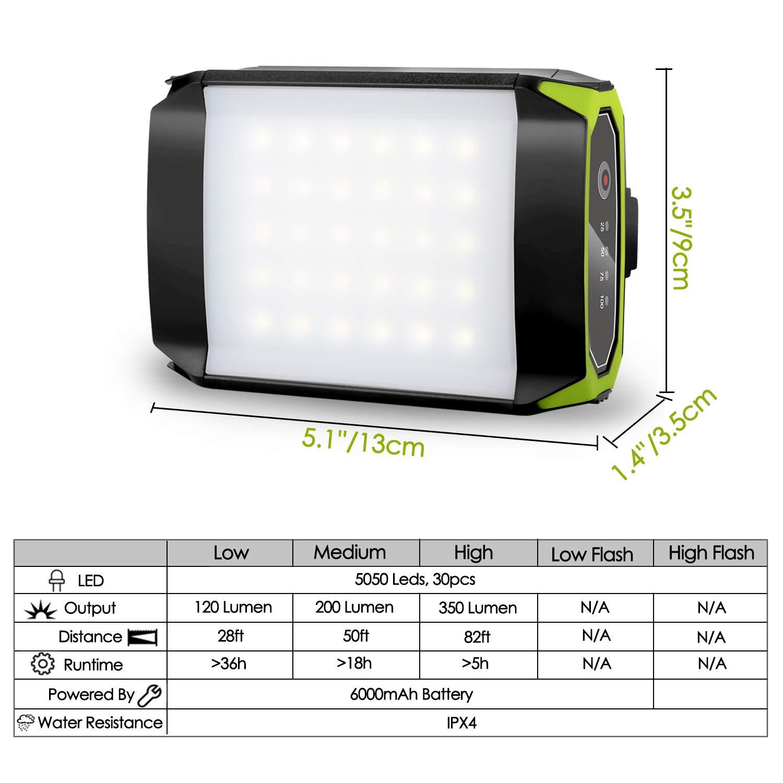 2 en 1 LED Lampe Rechargeable /& Power Bank 6000mAh Odoland Lanterne de Camping Lanterne de Tente Portable avec USB C/âble pour Camping Randonn/ée Ustellar Jardin Chasse P/êche