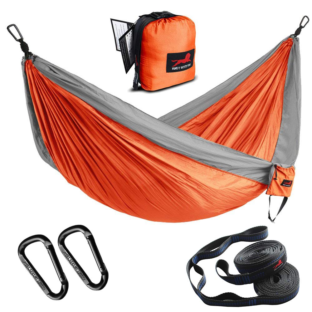 HONEST OUTFITTERS Single & Double Camping Hammock with Hammock Tree Straps,Portable Parachute Nylon Hammock for Backpacking Travel 78'' W x 118'' L Orange/Grey by HONEST OUTFITTERS