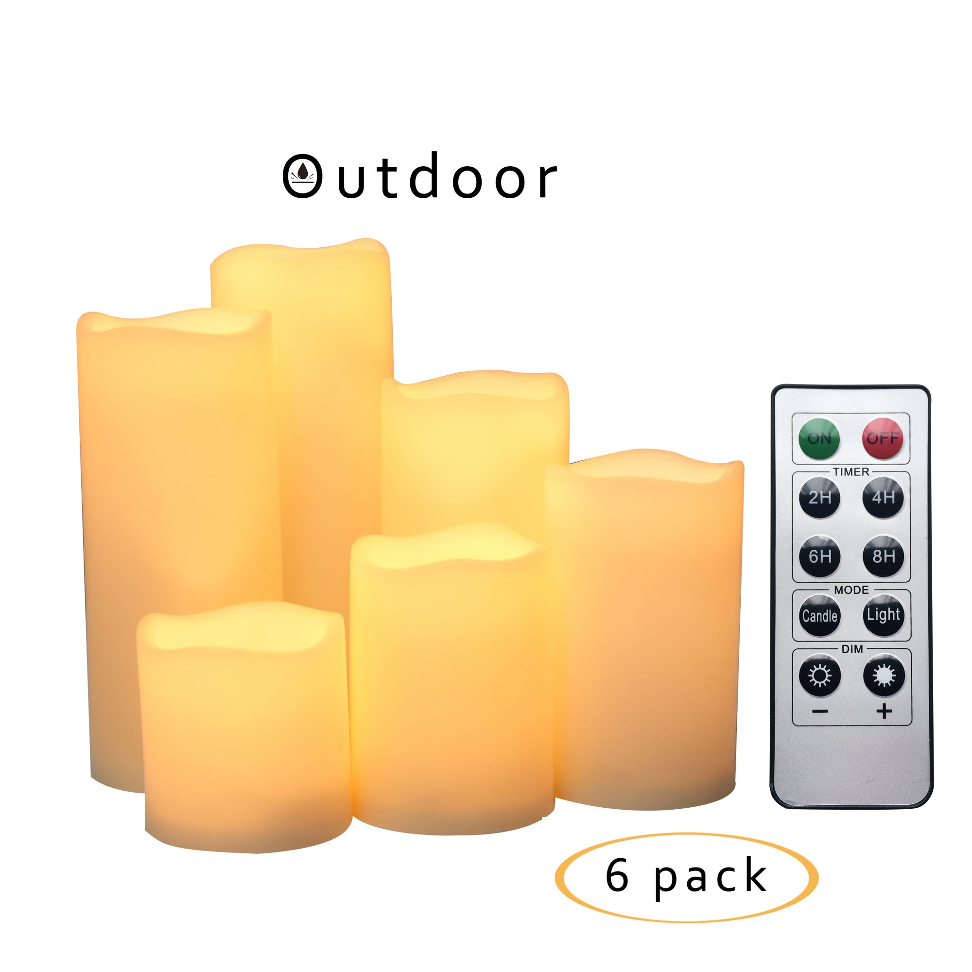 """iZAN Outdoor Flameless LED Candles with Remote & Timer - Waterproof Plastic Realistic Flickering Battery Operated LED Pillar Candles by Long Battery Life 3""""x3""""/4""""/5""""/6""""/7""""/8"""" Waved Edge 6-Pack"""
