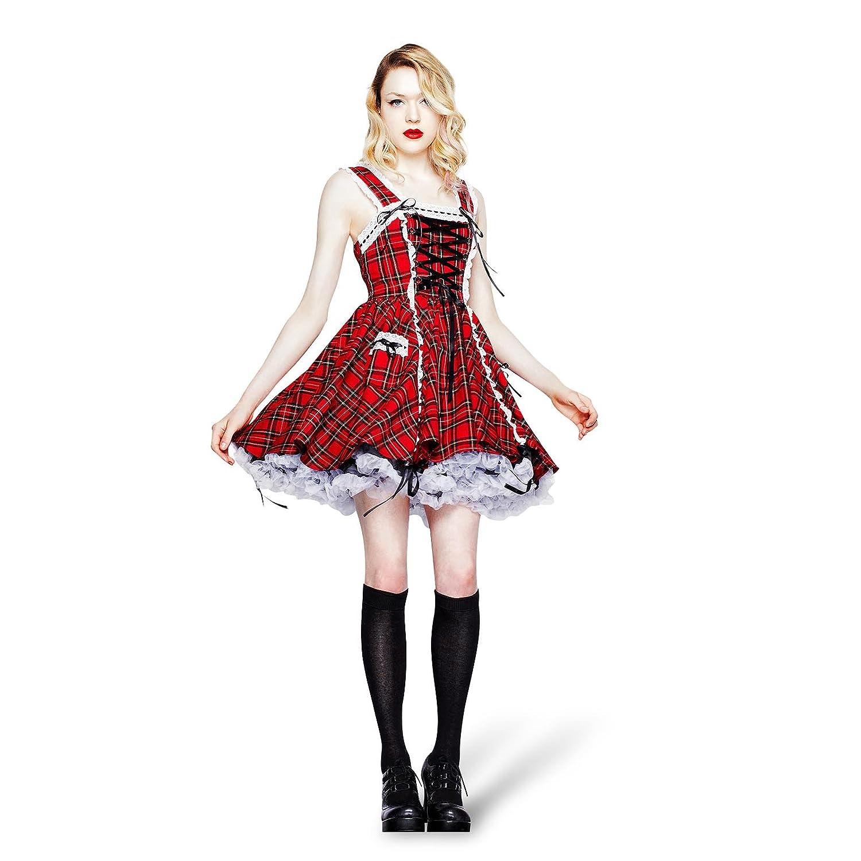 Hell Bunny - vestido corto escocés a cuadros Alexander - de fiesta - con encaje y acordonado - rojo - XL: Amazon.es: Ropa y accesorios