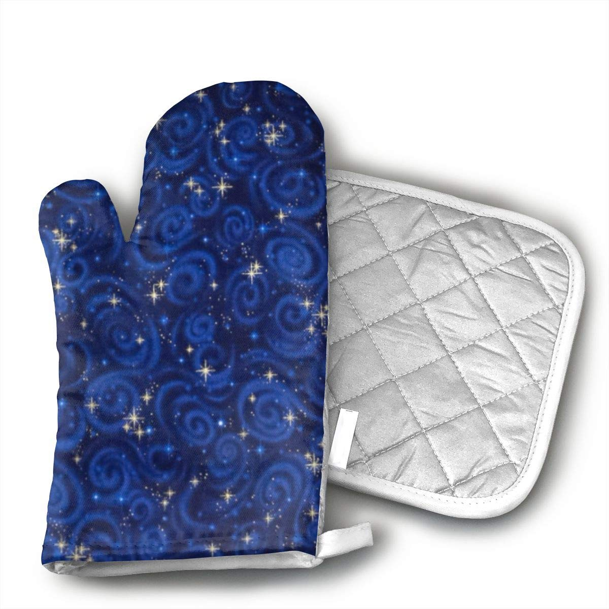 Ydsgjds Stargazers Starry Night Midnight Oven Mitts and BBQ Gloves Pot Holders,Kitchen Gloves for Grilling Machine Baking Grilling with Non-Slip