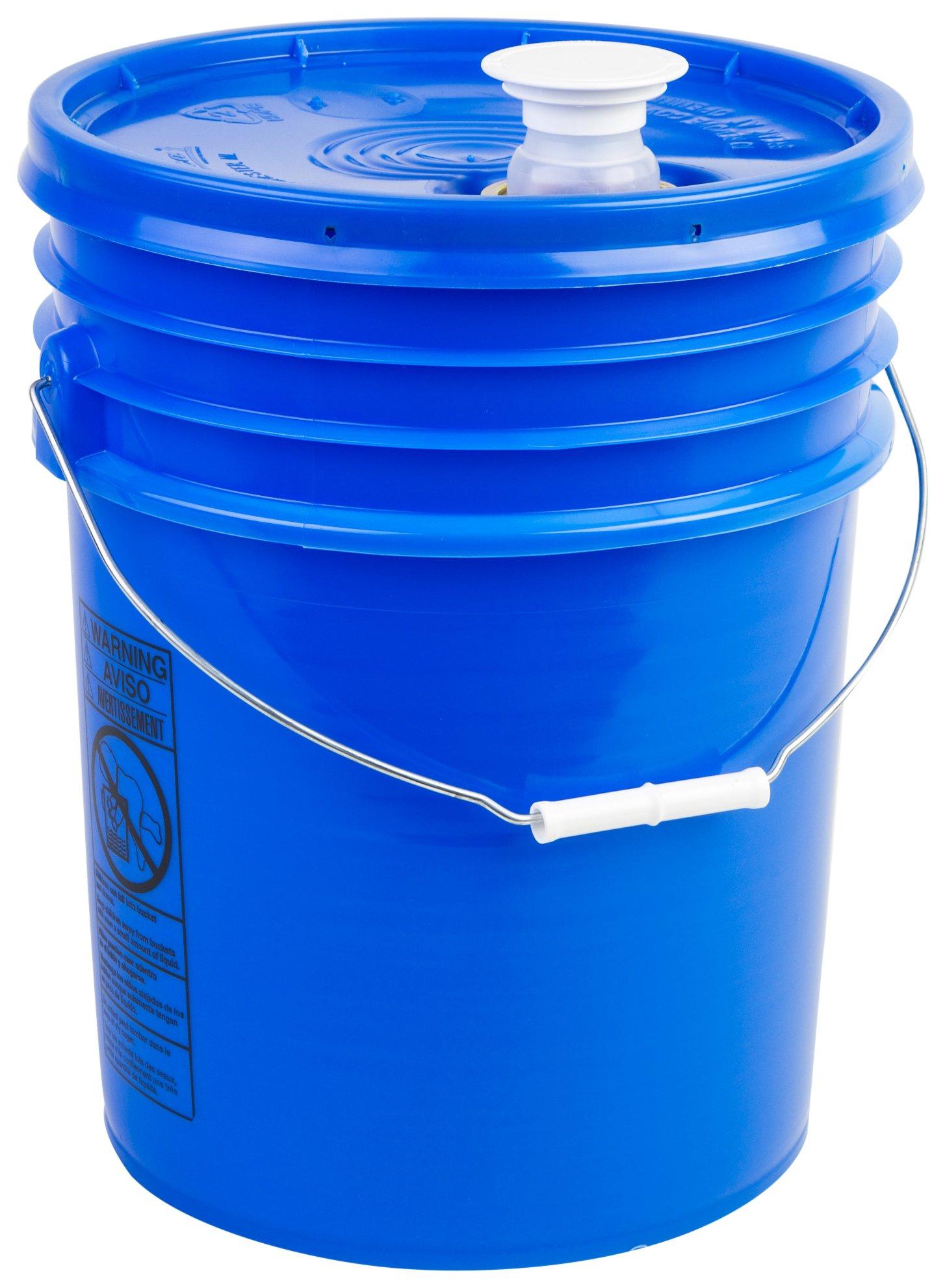 Hudson Exchange Premium 5 Gallon Bucket with Rieke Lid, HDPE, Blue, 6 Pack