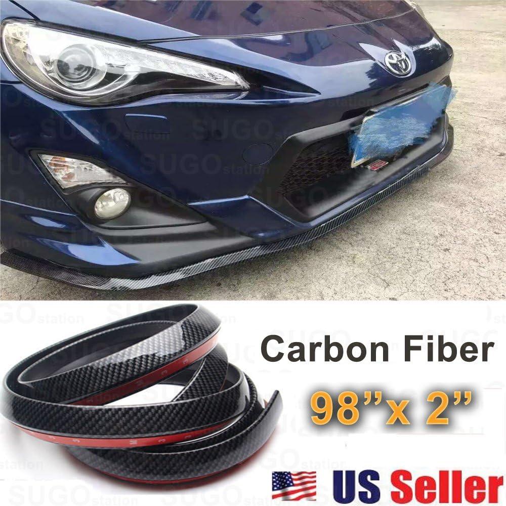 """Sugo Racing JDM Carbon Fiber Black Front Bumper Lip Guard Protector Air Dam 2x98"""""""