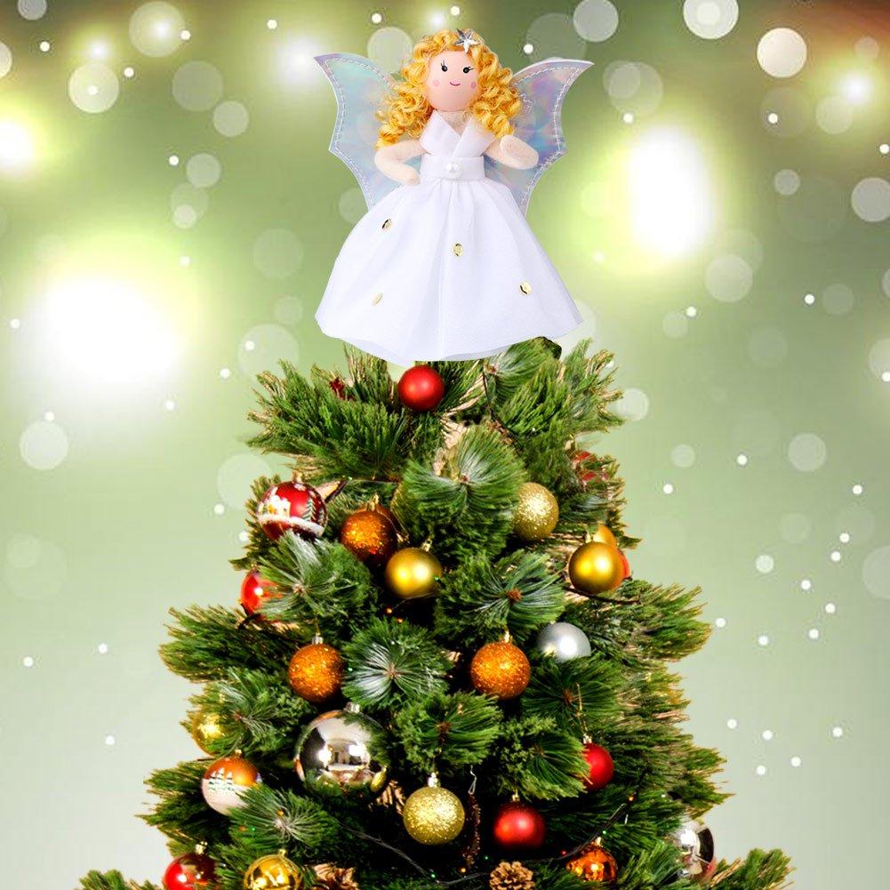 Amazon.com: Aytai Mini Angel Christmas Tree Topper, 7 Inch Silver ...