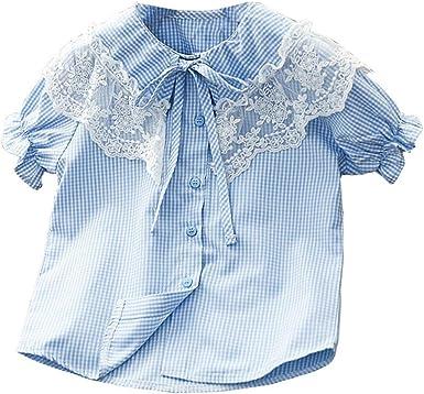 Camiseta para niñas Versión Coreana de Verano de Estilo Occidental Princesa Encaje Muñeca Camisa con Cuello Camisa a Cuadros de Manga Corta Marea - Gris + 140cm: Amazon.es: Ropa y accesorios