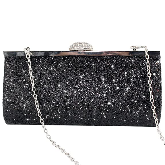 7447c5468191e Wocharm Womens Prom Party Glitter Clutch Bag Sparkly Silver Gold Black  Evening Bridal Bag (Black)  Amazon.co.uk  Shoes   Bags