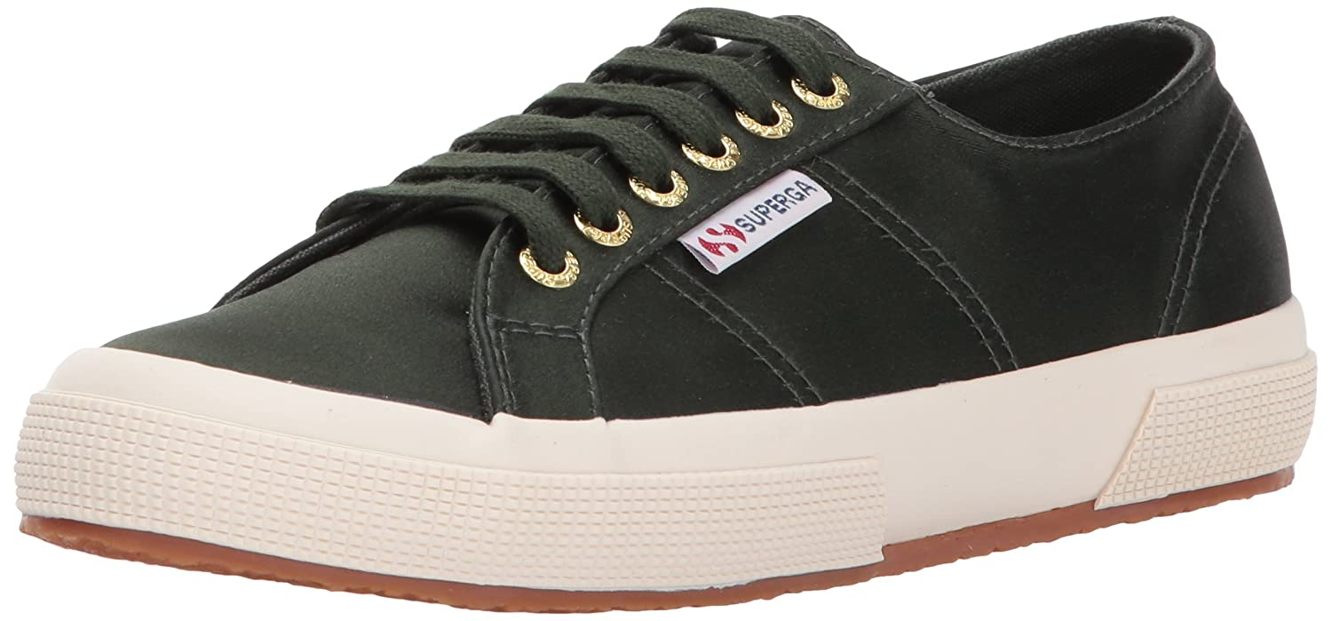 Superga Women's 2750 Satin Fashion Sneaker B0725ZW5LL 39 M EU|Military/Gold