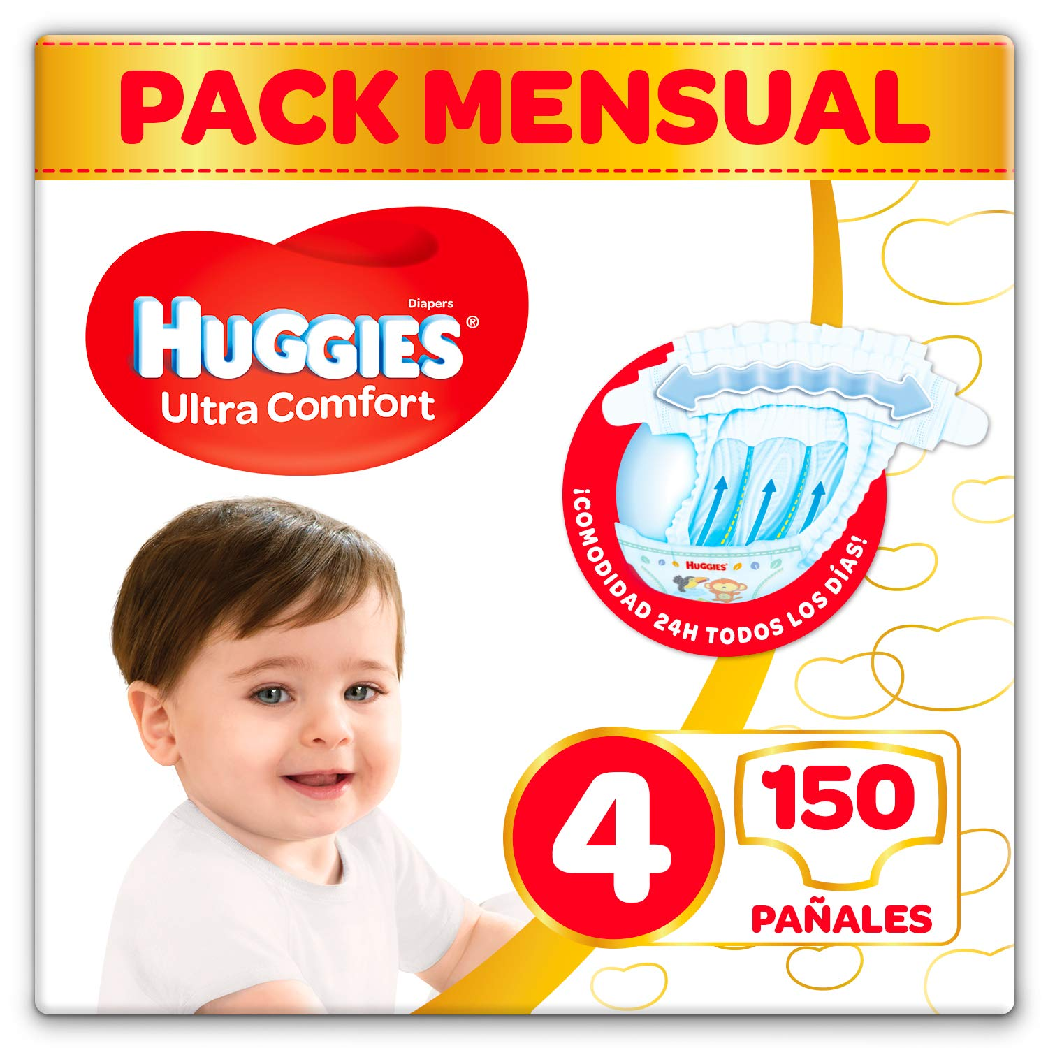 Huggies Ultra Comfort Pañales Talla 4 (7-18 kg) - 150 pañales product