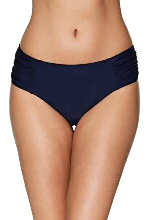 047b683a479f7 ATTRACO Womens Tankini Bottom Solid Ruched Swim Briefs Modest Navy Small