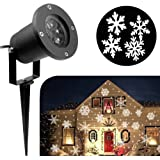 KOOT Christmas Lights, White Moving Snowflake Light Outdoor Waterproof LED Light Projector Holiday Decoration for Landscape Garden Holiday Party Decoration