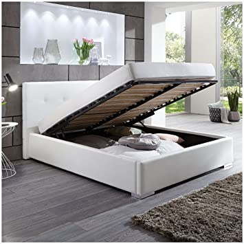 Amazon.de: Polsterbett BETTY Kunstleder Bett mit Bettkasten ...