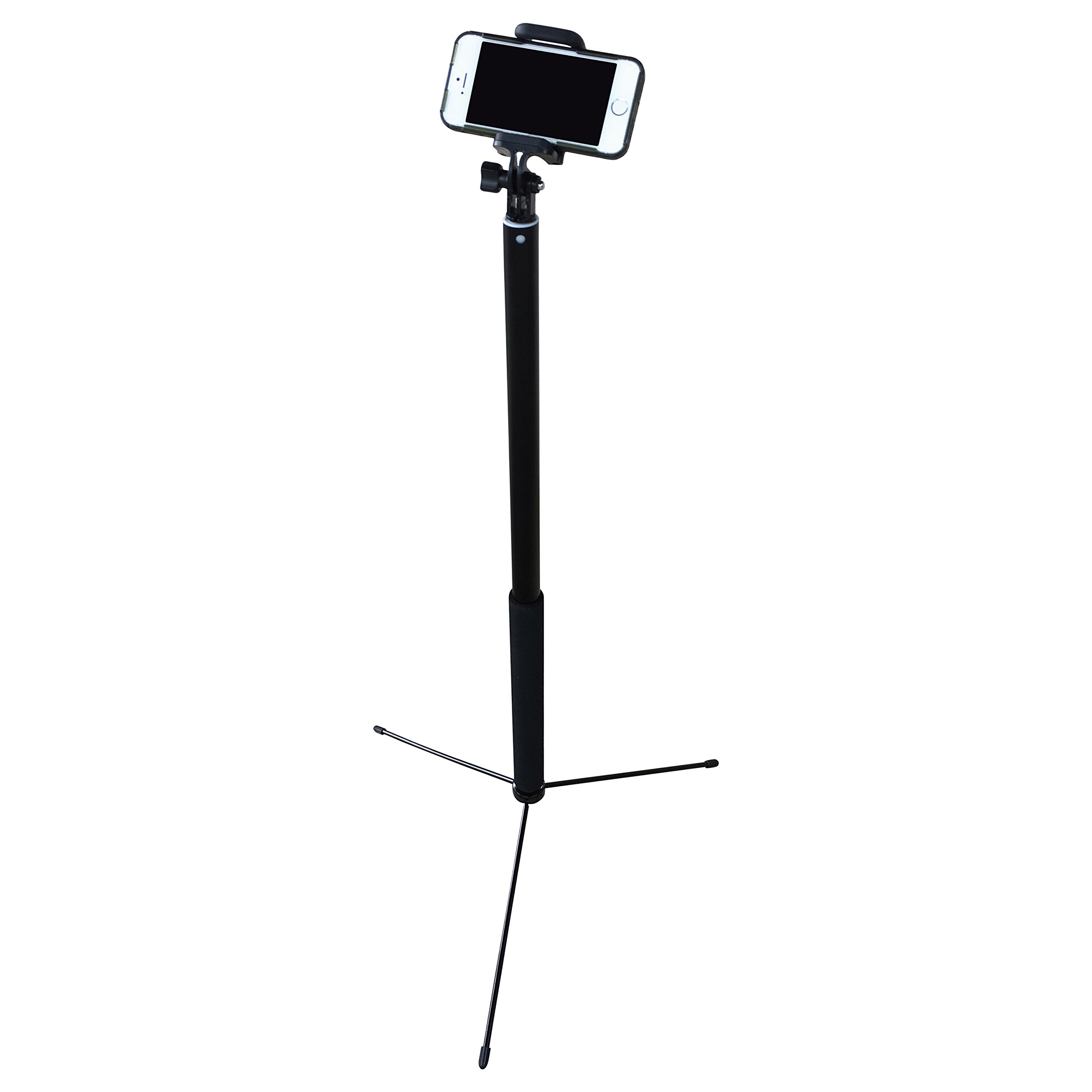 MIGHTY Selfie Stick - w Bluetooth Remote, Steel Tripod Base, Extends 26-120 inches for EPIC VIDEO for Vlogging on iPhone X/8/7/6/Plus, Samsung S7/S8, Android, GoPro & Compact Digital.