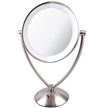 Beautiful Ovente 9.5u201d Lighted Tabletop Makeup Mirror, Battery Or USB Adapter  Operated, 1x10x Magnification