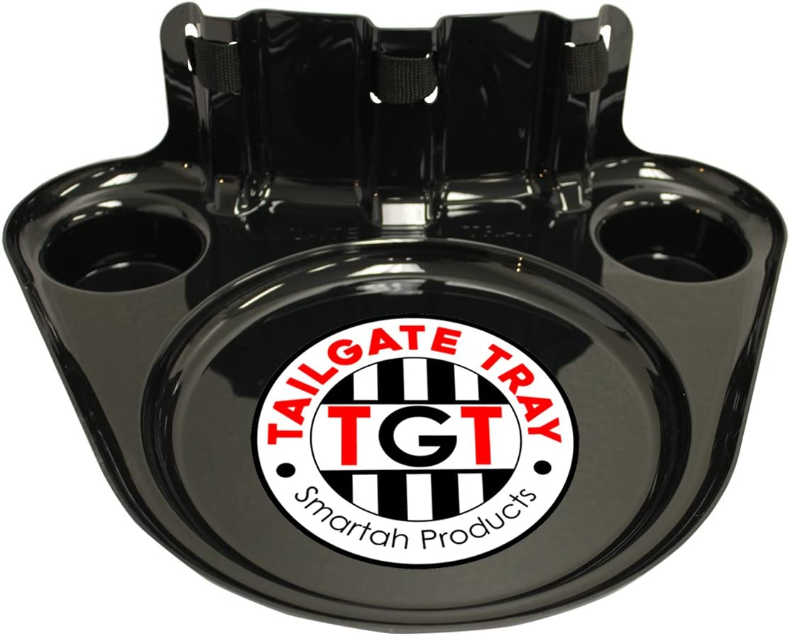 TGT TailGate Snack Tray - Totally Hands Free! Strap Around Your Waist Food and Drinks Holder, Serving Tray - Perfect for Tailgating, Sporting Events, Parties and Picnics (Black, 1-Pack)